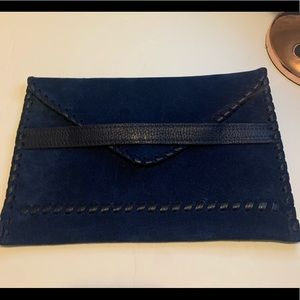 Laggo Swede & Leather Envelope Clutch